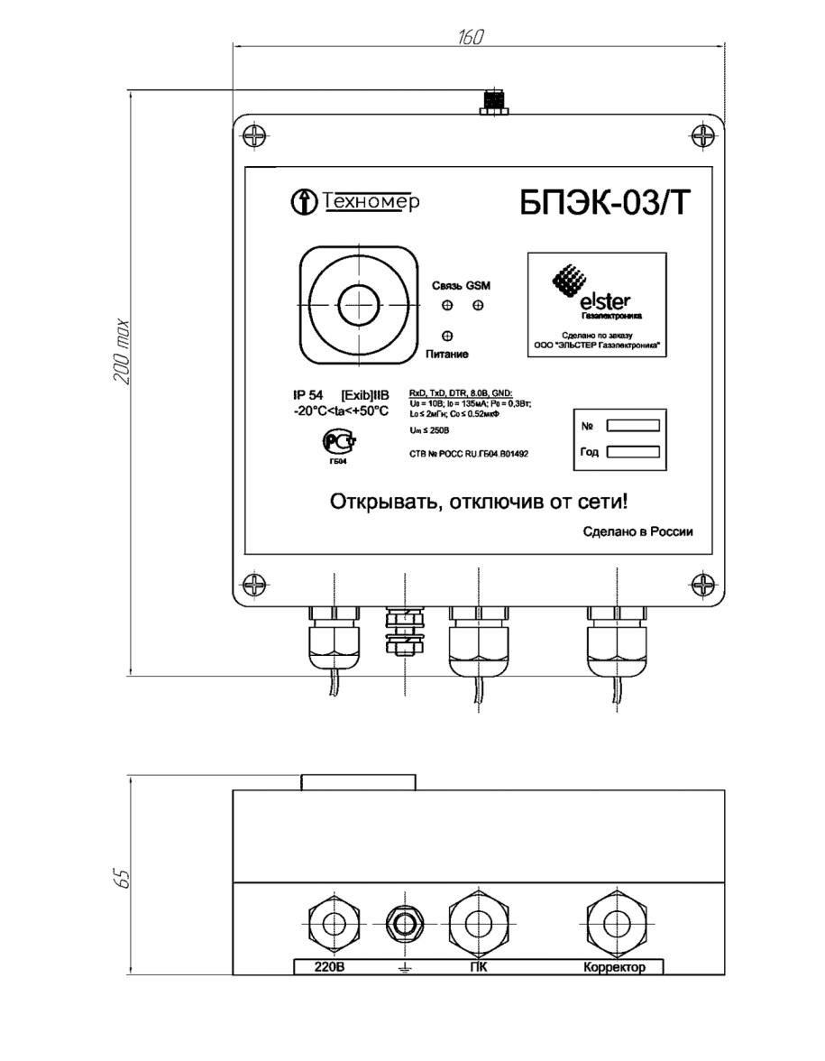 Габаритные размеры коммуникационного модуля БПЭК-03/Т