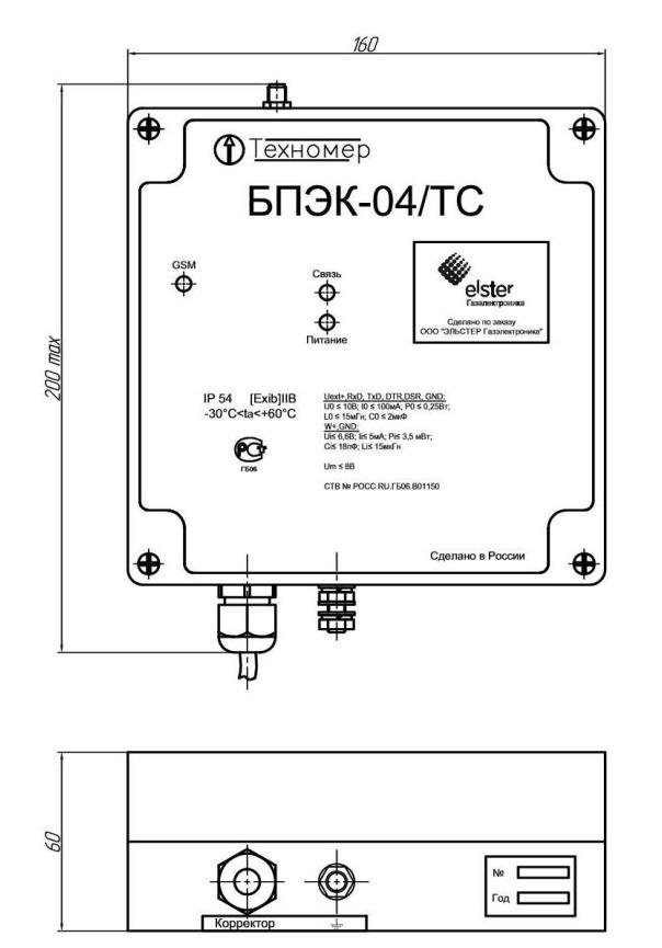 Габаритные размеры коммуникационного модуля БПЭК-04/ТС
