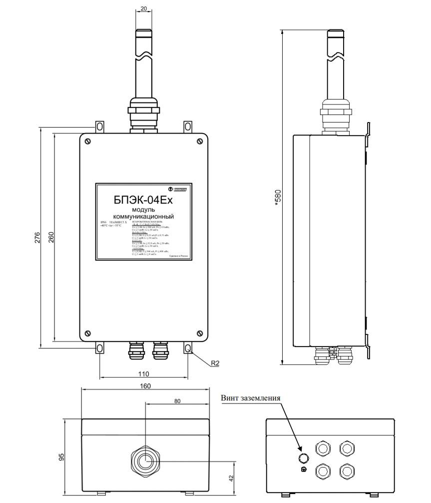 Габаритные размеры модуля БПЭК-04/Еx