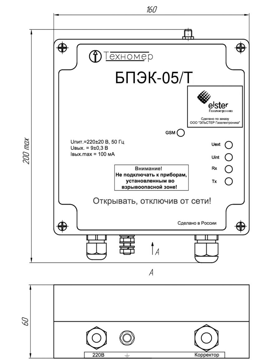 Габаритные размеры блока питания БПЭК-05/Т